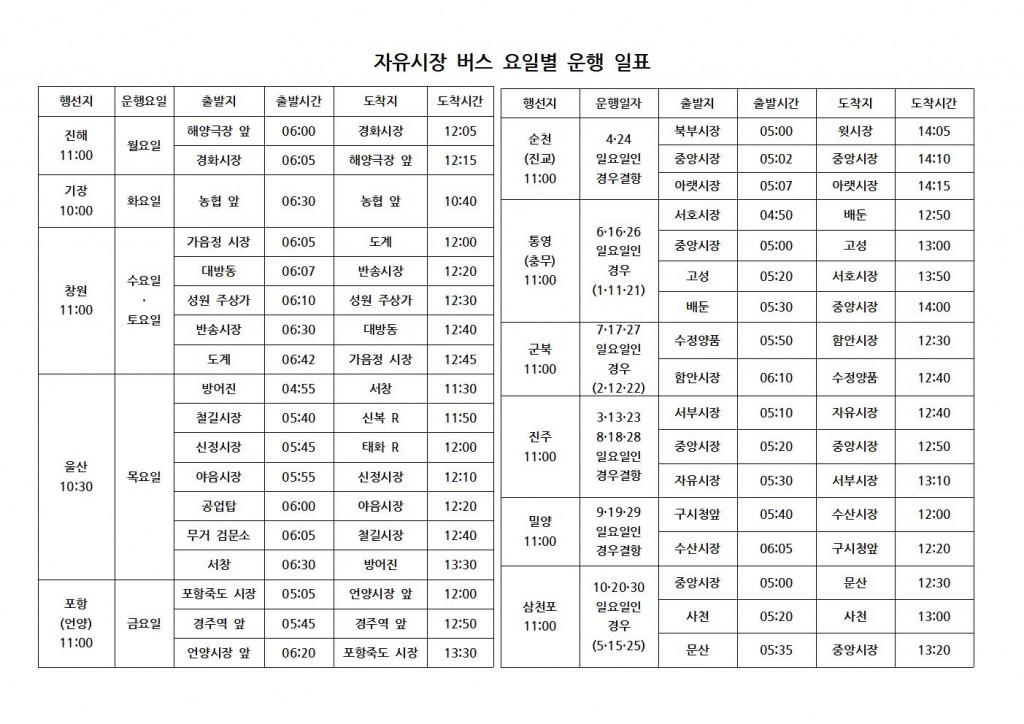 자유시장 버스 요일별 운행 일표001